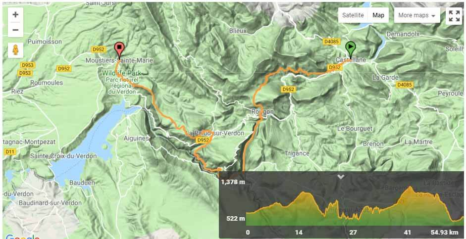 Verdon Gorge Map Route