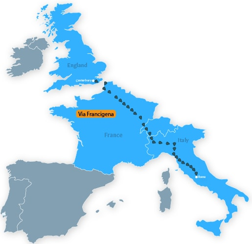 Via Francigena The Road to Rome map